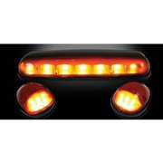 02-07 GM Silverado/Sierra HD Classic Cab Roof Lights Amber Lens Black Bases Amber LEDs, 3-Piece Kit