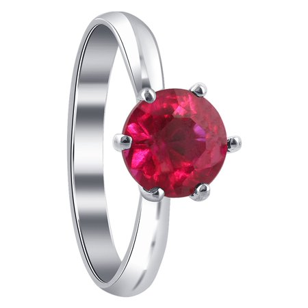 Gem Avenue 925 Sterling Silver Red Color Cubic Zirconia Solitaire Ring ()