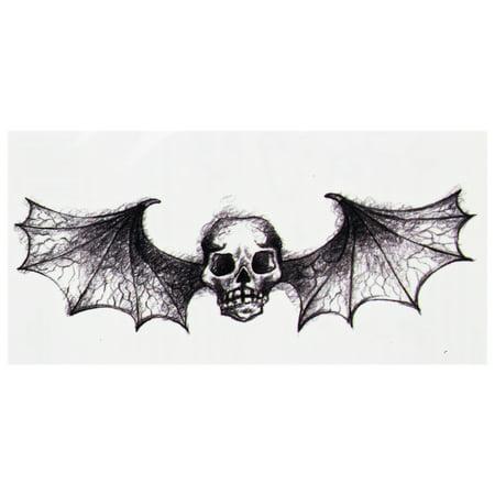 Disembodied Skull With Menacing Bat Wings Temporary - Tattoos Skulls
