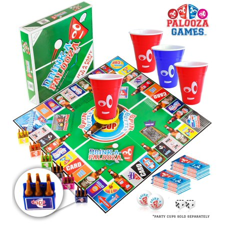 Halloween Party Games Adults Alcohol (DRINK-A-PALOOZA Board Game: Fun Drinking Games for Adults & Game Night Party Games | Adult Games Combo of Beer Pong + Flip Cup + Kings Cup Card Games +)