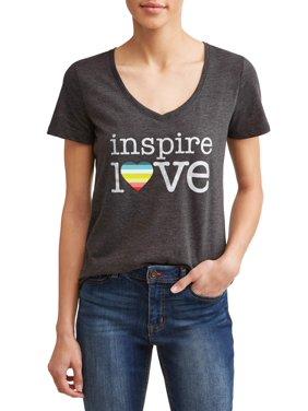 4317b1cc9 Product Image EV1 from Ellen DeGeneres Inspire Love Short Sleeve V-Neck  Graphic Tee Women's