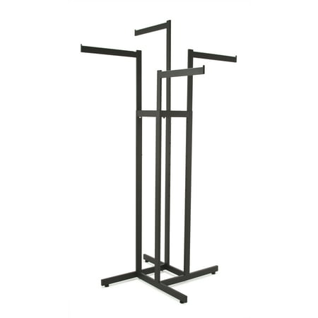 Clothing Rack ? Black 4 Way Rack, Adjustable Height Arms, Blade Arms, Square Tubing, Perfect for Clothing Store Display With 4 Straight Arms Econoco?s 4 arm clothing rack is the premiere clothing rack for store display! This fixture for clothing has 4 straight blade arms. This allows for any store to place their clothing on this clothing store display rack any way that best fits their needs. With the arm height being adjustable on this clothing rack it allows the customer to put the arm anywhere from 48? to 72? with 3? increments. Not only does this 4-arm clothing rack have adjustable arms but it is chrome plated for the ultimate showroom look. With this Black Matte 4-way clothing rack it adds to the ambiance of any store or boutique that you choose to place this clothing rack. With the clothing rack weighing 34 pounds you can rest assured no matter where you place this clothing rack that it will stay put where it is meant to. With this clothing store rack having four arms you can easily place a dozen items of clothing on this rack, and have it displayed and readjusted to whatever needs fit your store the best!