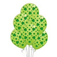 St. Patrick's Day Balloons with Green Shamrocks, Premium Gold, 11in, 25ct