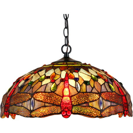 "Chloe Lighting Skimmers Tiffany-Style 2-Light Dragonfly Ceiling Pendant Fixture with 18"" Shade"