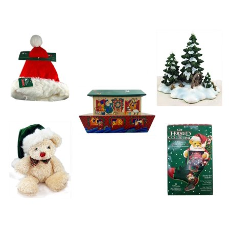 M And N Party Store (Christmas Fun Gift Bundle [5 Piece] - Trim A Home Deluxe Santa Hat Adult Medium - Dept. 56 Village Accessory Wagonwheel Pine Grove - Noah's Ark Card Storage Display Box)
