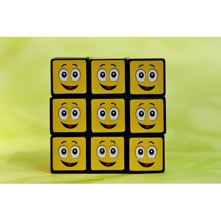 Canvas Print Funny Mood Emotion Cube Feelings Emoticon Smilies Stretched Canvas 10 x (Emotion Cubes)