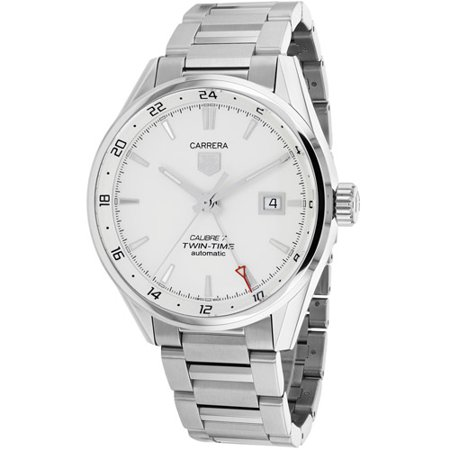 Tag Heuer Carrera Dual Time Silver Dial Mens Watch WAR2011BA0723