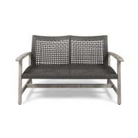 Camdyn Outdoor Wood and Wicker Loveseat, Mixed Black, Light Gray Wash
