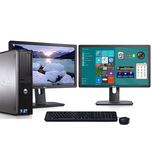 "Dell Optiplex Desktop Computer Bundle Windows 10 Intel 2.13GHz Processor 4GB RAM 500GB Hard Drive DVD Wifi with Dual 22"" LCD's Keyboard and Mouse-Refurbished Computer"