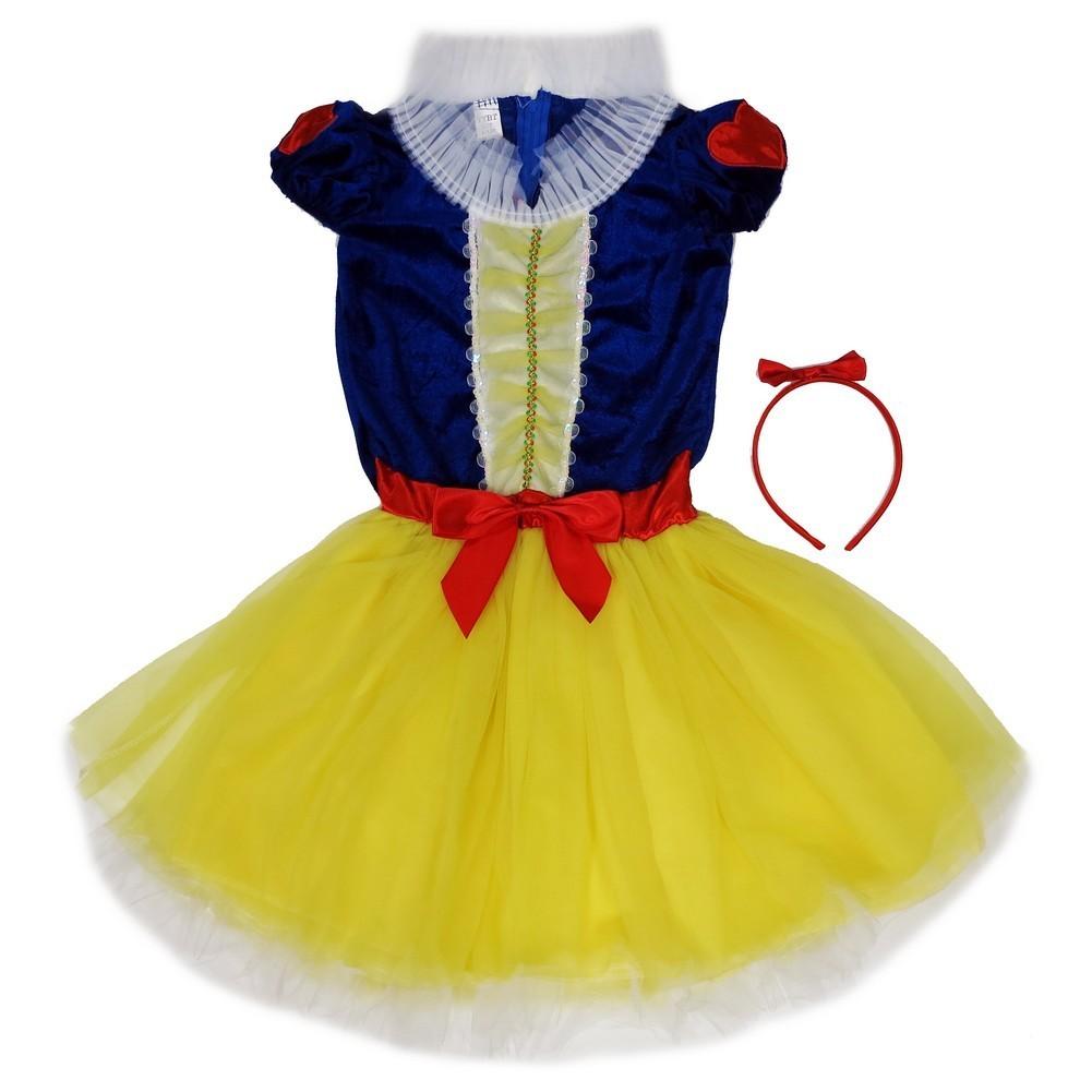 Wenchoice Girls Yellow Snow White Bow Headband Dress Set