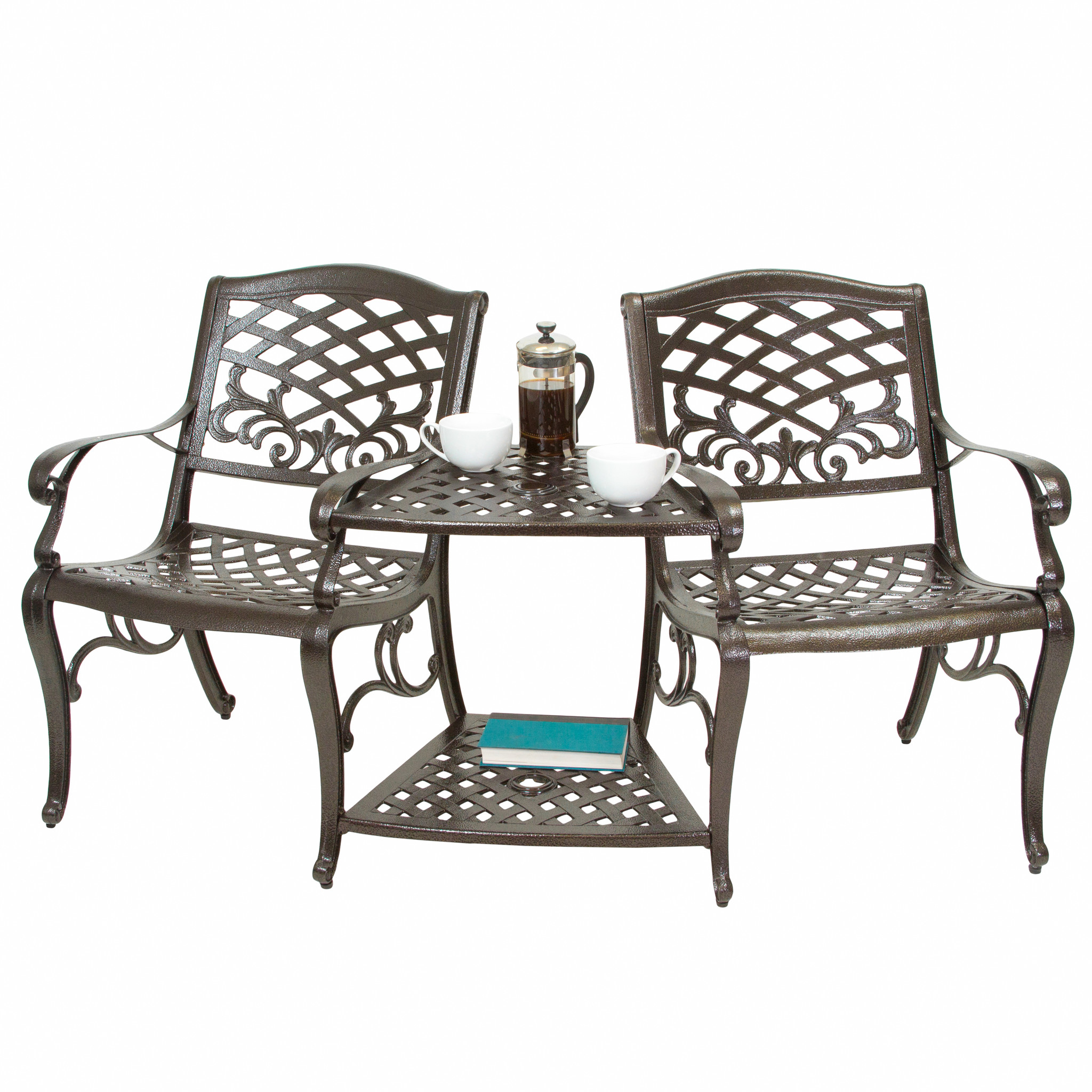 Noble House St Helena Bronze Cast Aluminum Outdoor Adjoining Chair