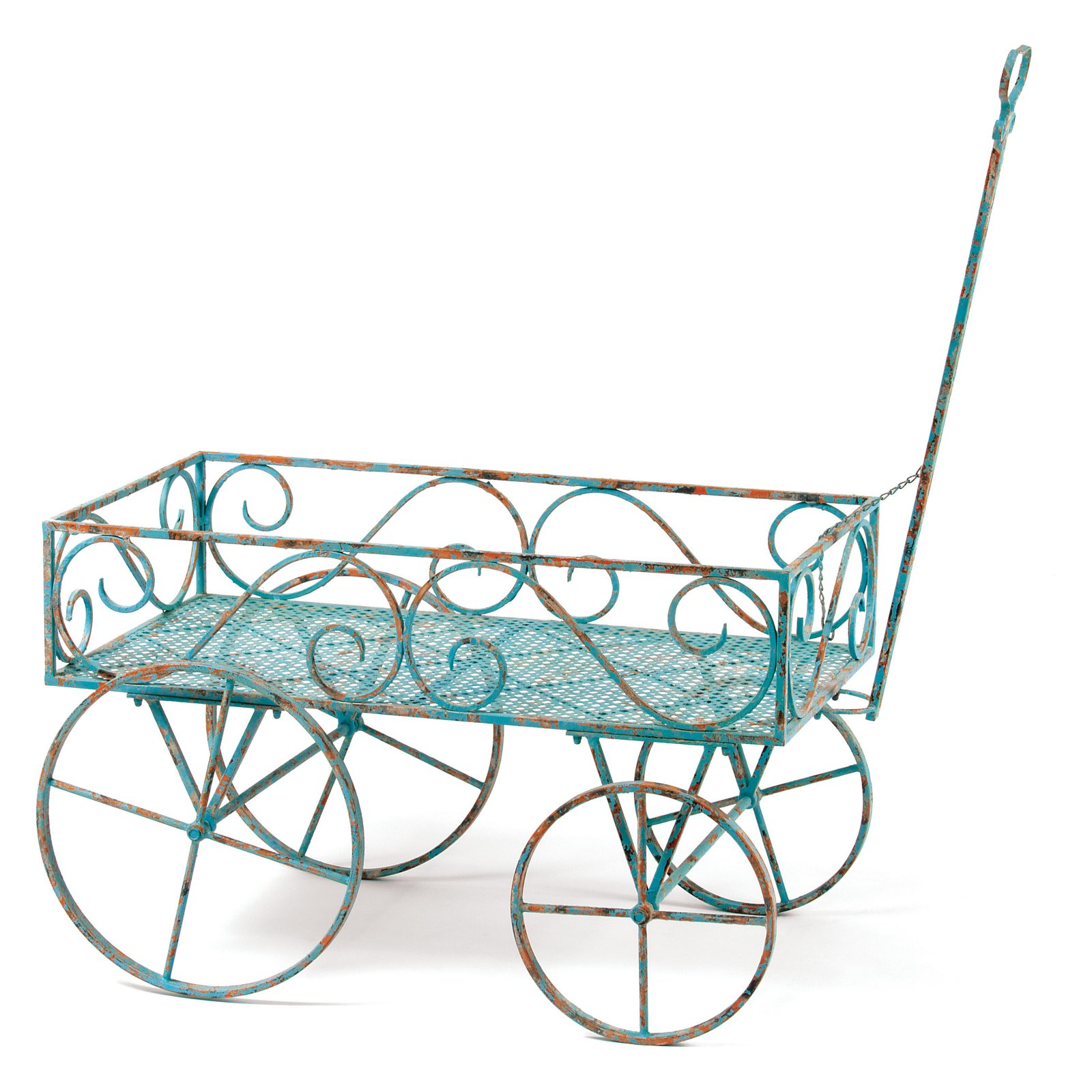 Deer Park Ironworks Blue Garden Wagon Plant Stand by Overstock