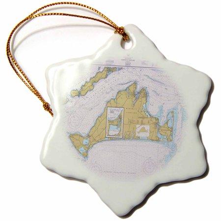 3dRose Print of Nautical Map Of Marthas Vineyard , Snowflake Ornament, Porcelain, 3-inch ()