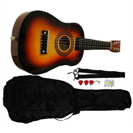 Mini Kids Acoustic Toy Guitar Kit Gig Bag + Picks + Strap + Tuner - Sunburst (Kids Toy Guitar)