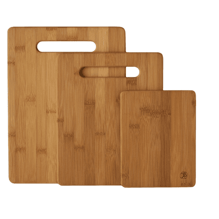 Laser Engraved Bamboo Cutting Board - Totally Bamboo 3-Piece Bamboo Serving and Cutting Board Set