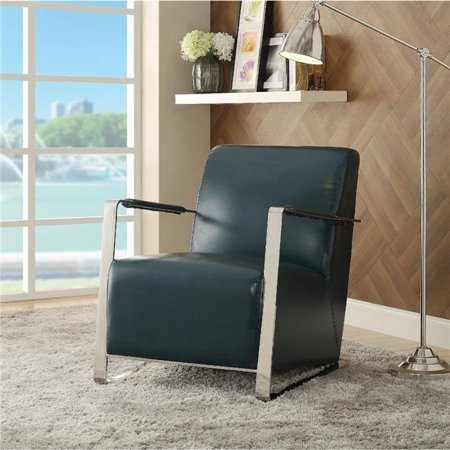 Benzara Polyurethane Upholstered Metal Accent Chair with Mid Backrest, Blue and Silver