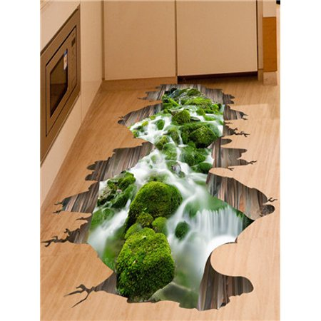 3D Stream Floor Wall Sticker Removable Mural Decals Vinyl Art Living Room Decor - Floor Decals