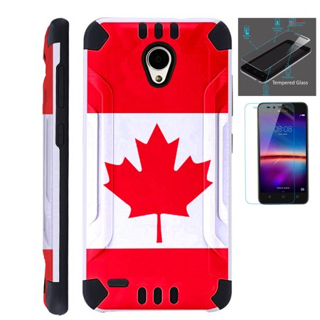 For Cricket Wave (2018) Case + Tempered Glass Brushed Metal Texture Hybrid TPU KombatGuard Phone Cover (Canada Flag)