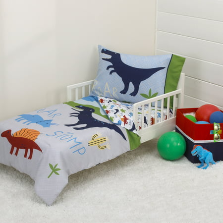 Parent's Choice Dino Boy Blue, Green, Grey 4pc Toddler Bedding Set (Boys Toddler Bedding Set Truck)