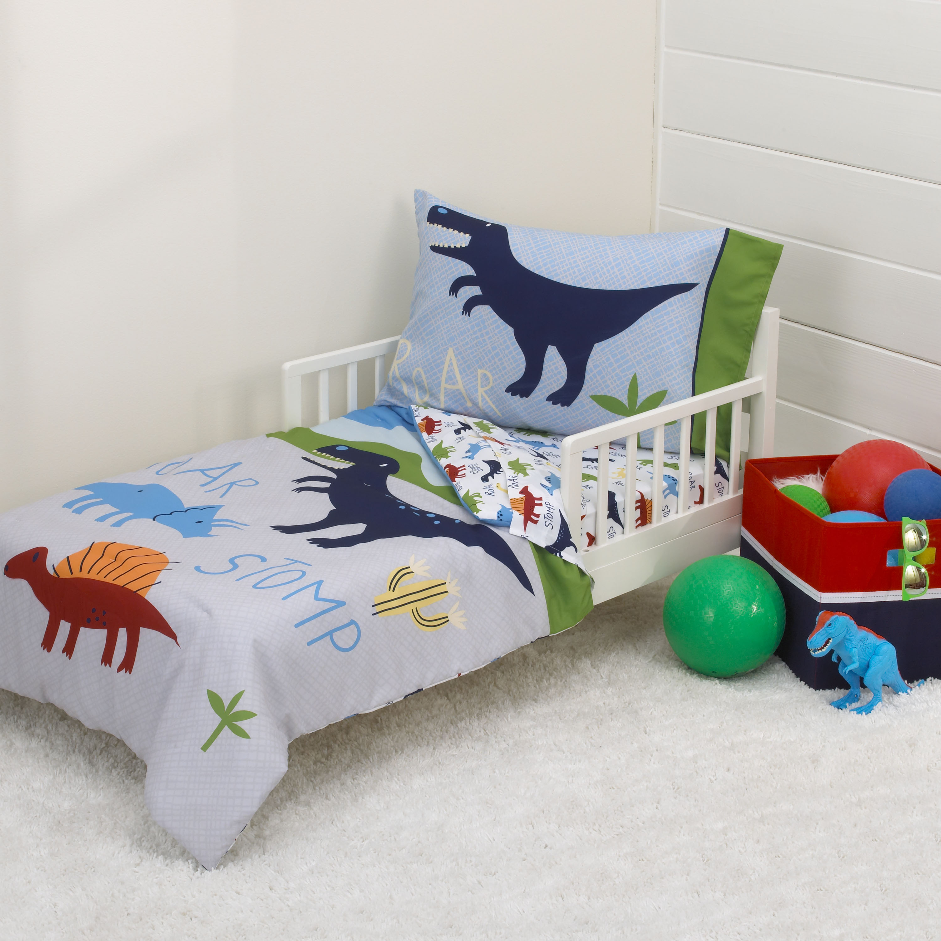 Parent's Choice Dino Boy Blue, Green, Grey 4pc Toddler Bedding Set