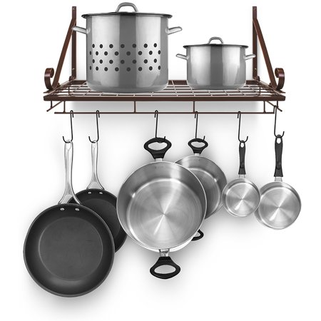 Kitchen Wall Pot Pan Rack With 10 Hooks Brown