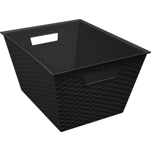Small Resin Wicker Bin Black, 4pk