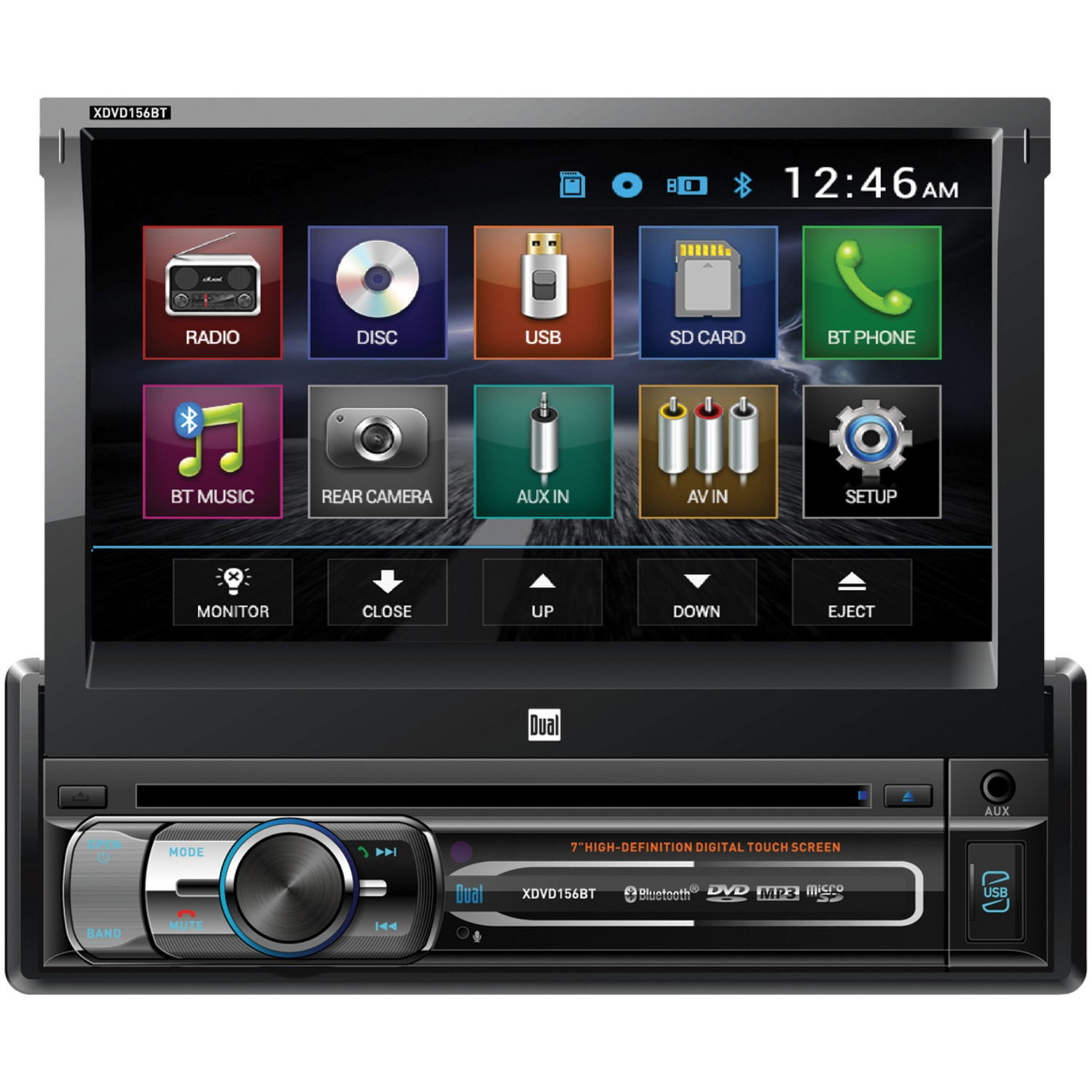 """Dual XDVD156BT 7"""" Single-Din In-Dash DVD Receiver With Bluetooth & Motorized Touchscreen"""