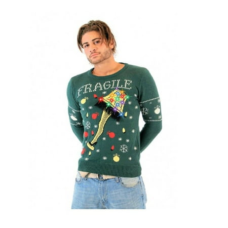 A Christmas Story Fragile Leg Lamp Light Up Green Ugly Christmas Sweater - Ugly Christmas Sweaters For Kids