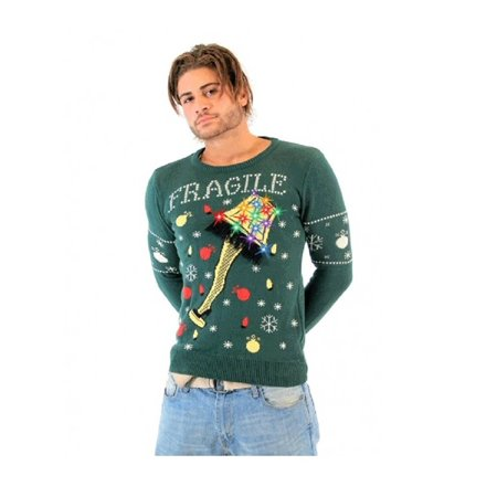 A Christmas Story Fragile Leg Lamp Light Up Green Ugly Christmas Sweater - Classic Christmas Sweaters