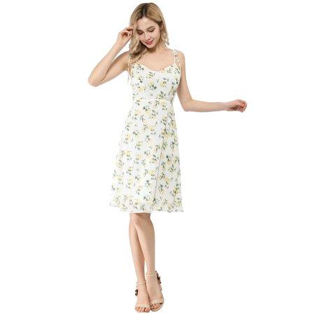 Women's Spaghetti Strap Summer Midi Floral Print Dress White M (US 10) - image 3 de 6