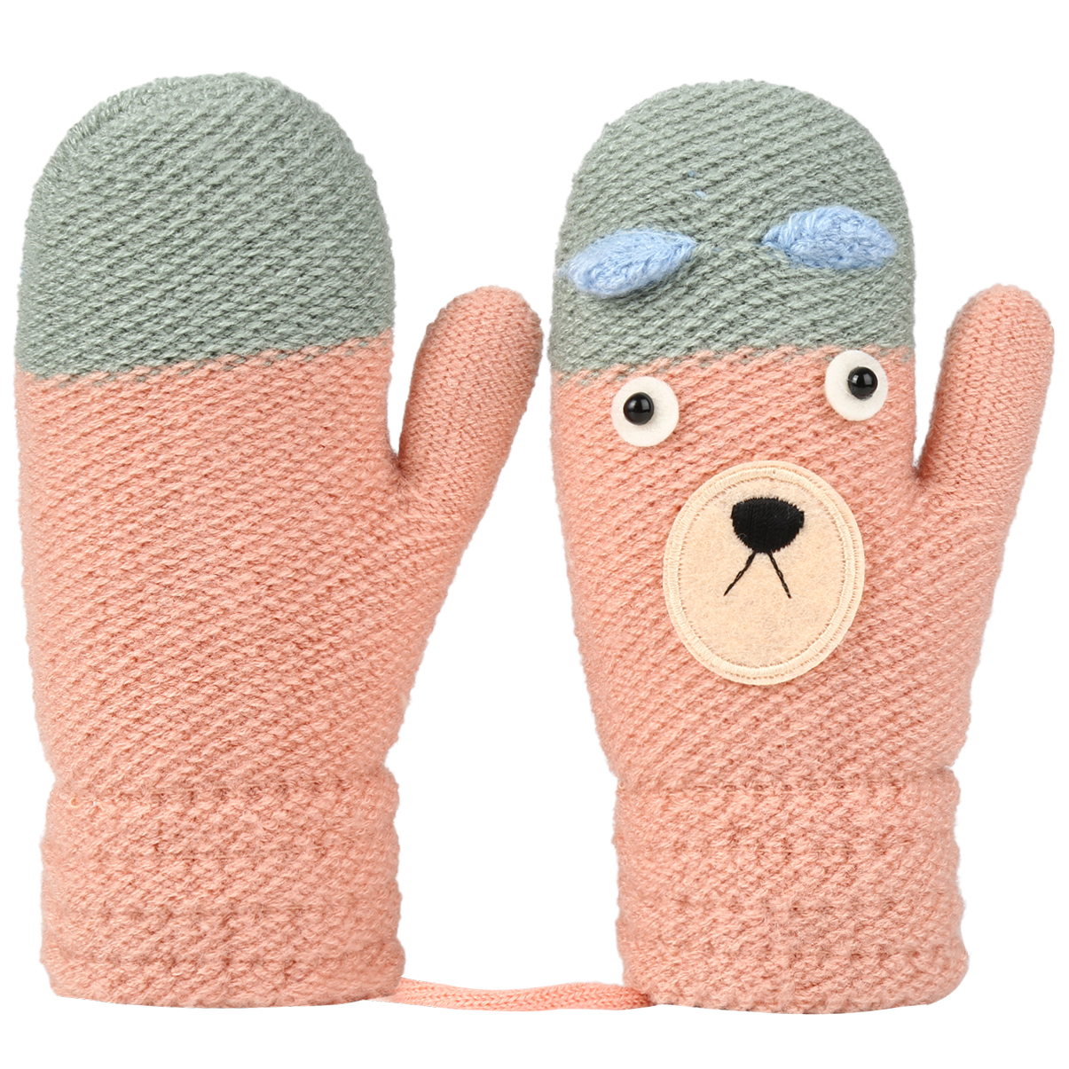 4 Colors Baby Hanging Thicken Warm Mittens Cartoon Knitting Kids Gloves