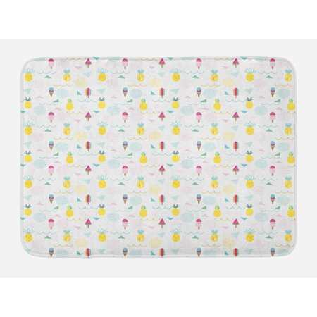 Abstract Bath Mat, Eighties and Nineties Themed Ice Cream and Pineapple Design Retro Illustration, Non-Slip Plush Mat Bathroom Kitchen Laundry Room Decor, 29.5 X 17.5 Inches, Multicolor, - Eighties Theme