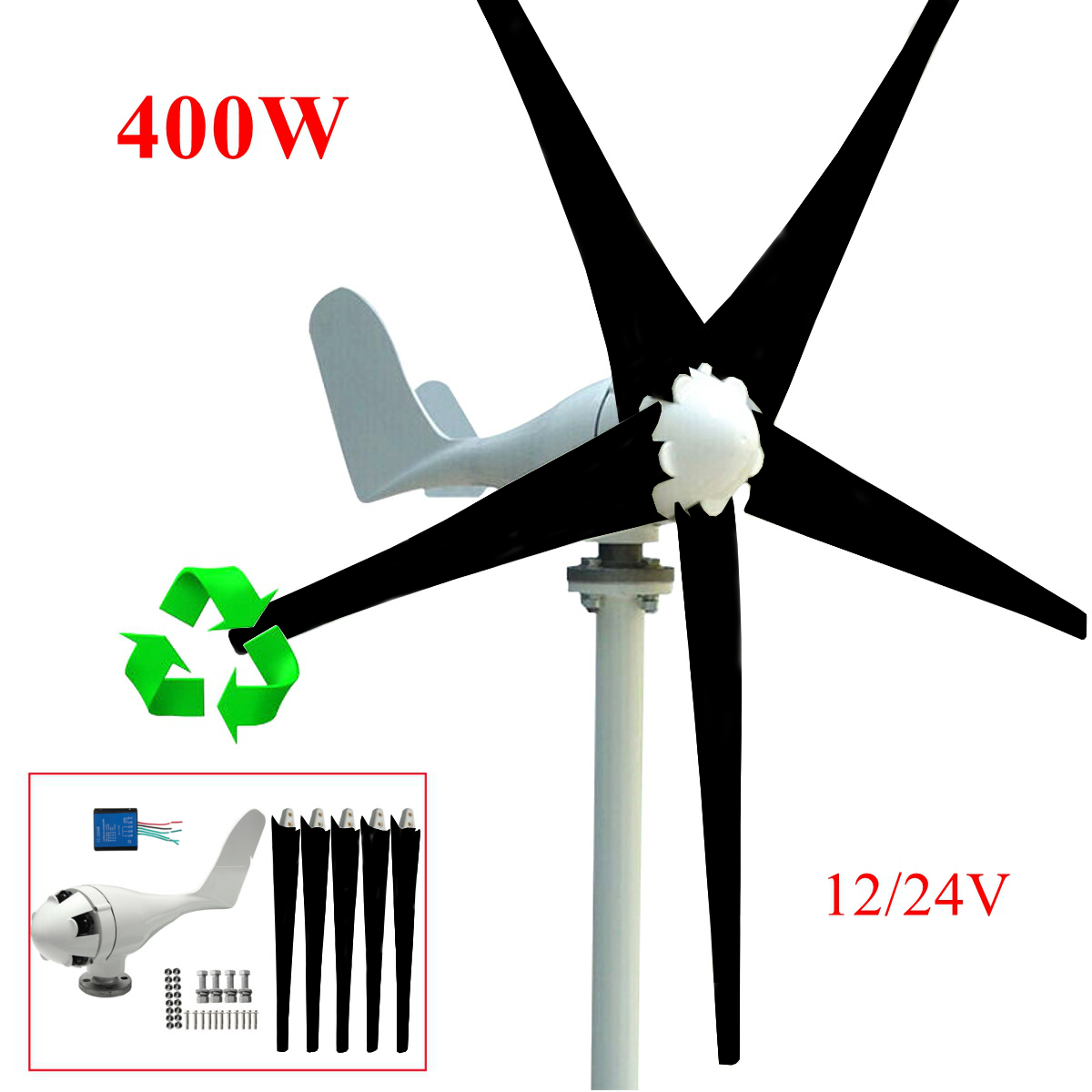 400W Power Wind Turbine Generator DC 12 24V 5 Blade with Windmill Charge Controller (Max... by