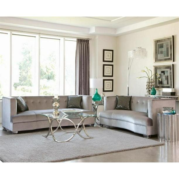 2 Piece Fabric Sofa Set In Silver