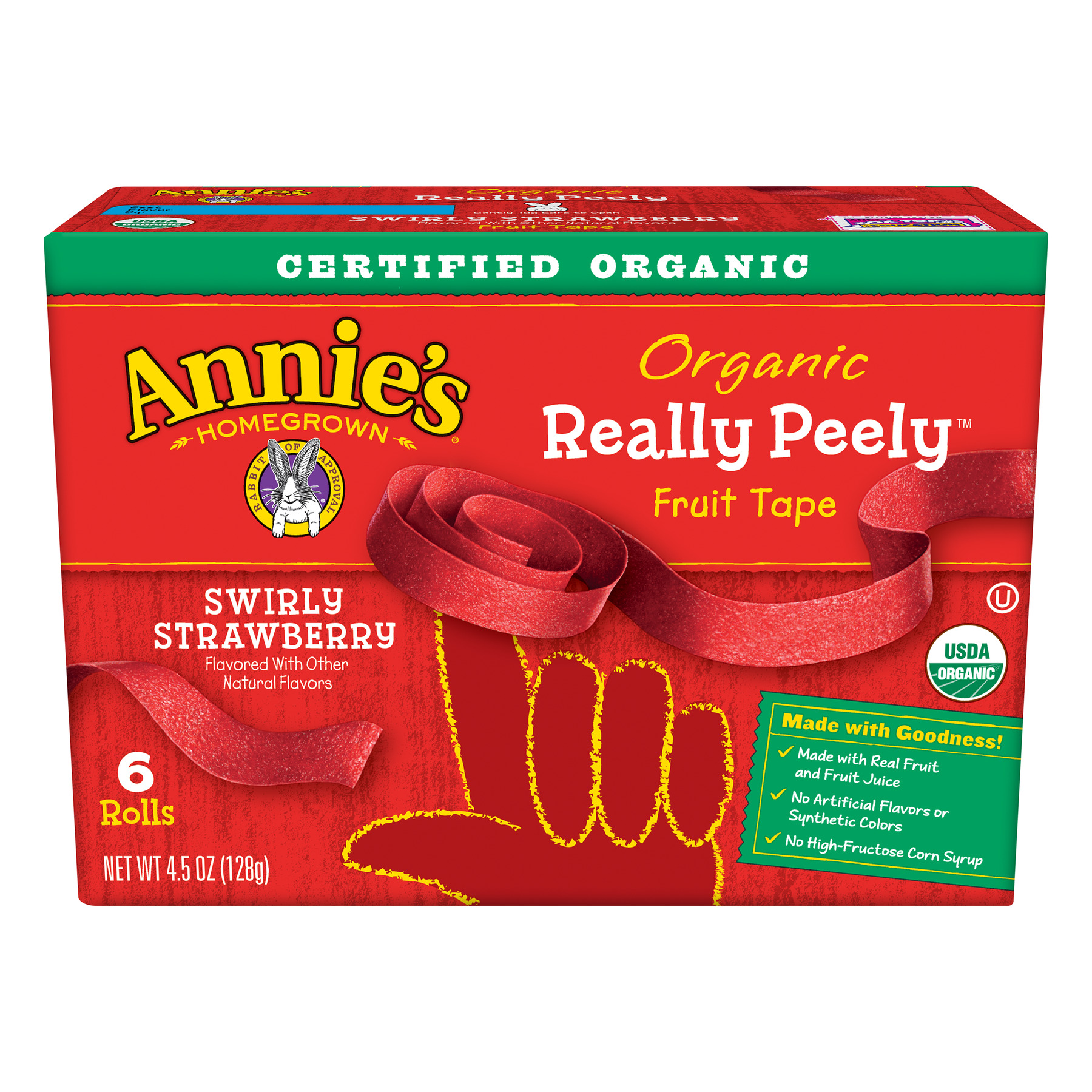 Annie's Organic Really Peely Fruit Tape Swirly Strawberry, 6 ct, 4.5 oz