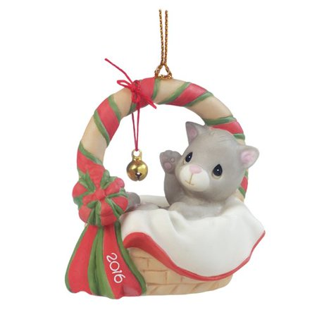 2016 Precious Moments Meowie Christmas Kitten in Basket Porcelain Ornament New ()