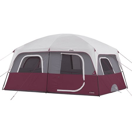 CORE Straight Wall 14 x 10 Foot 10 Person Large Family Cabin Tent, Wine -  Walmart com