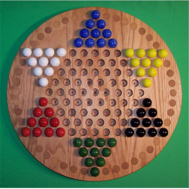 Charlies Woodshop W-1925alt.-2 Wooden Marble Game Board - Red Oak with 42 Birch Inlaid Spots