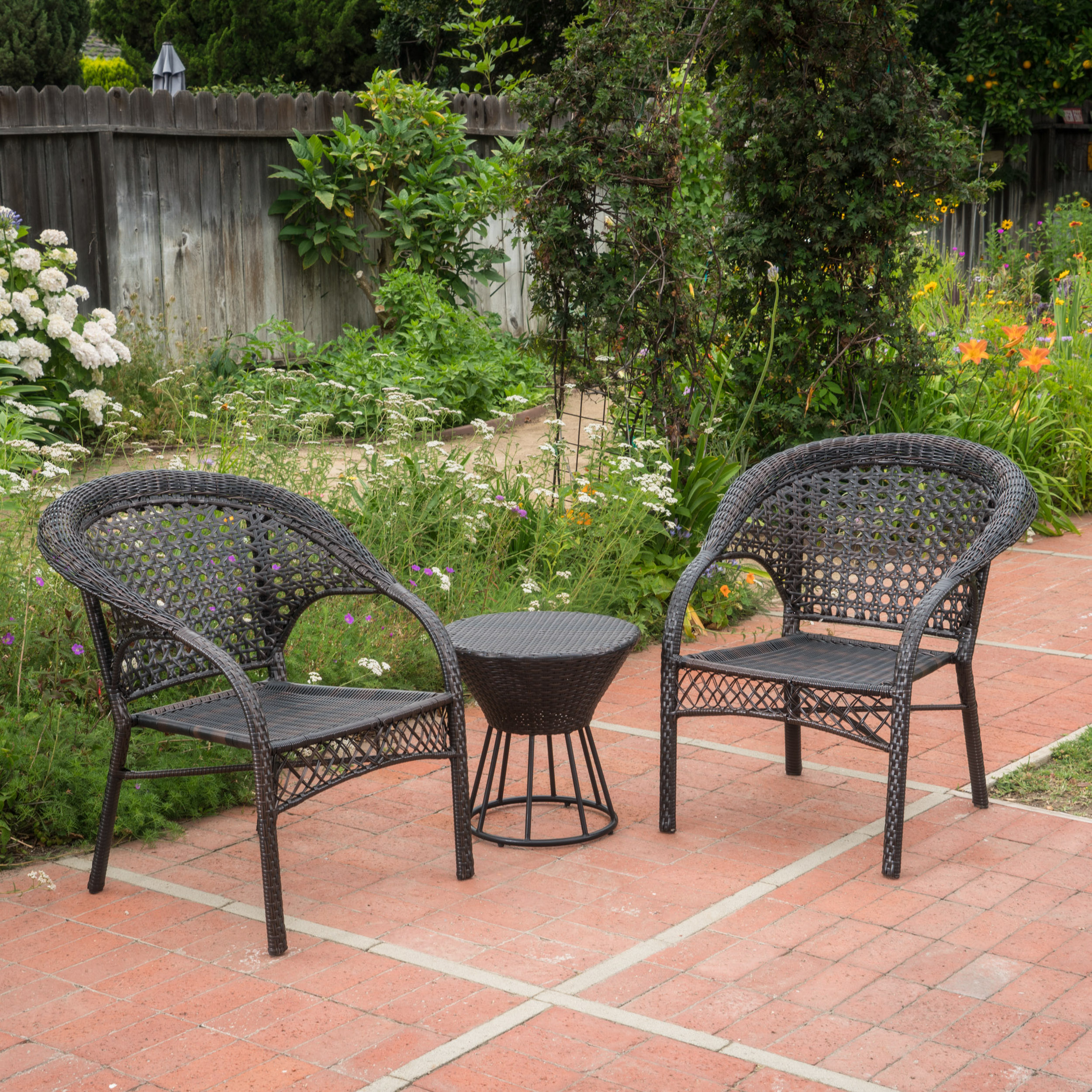 Bella Outdoor 3 Piece Wicker Stacking Chair Chat Set, Multibrown