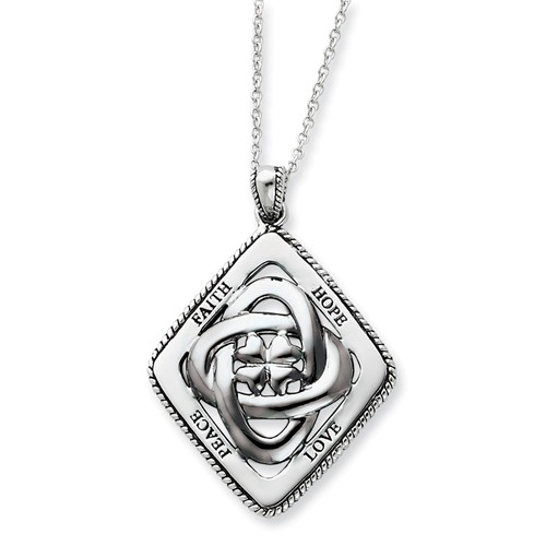 Silver Antiqued Family Blessings 18in Necklace