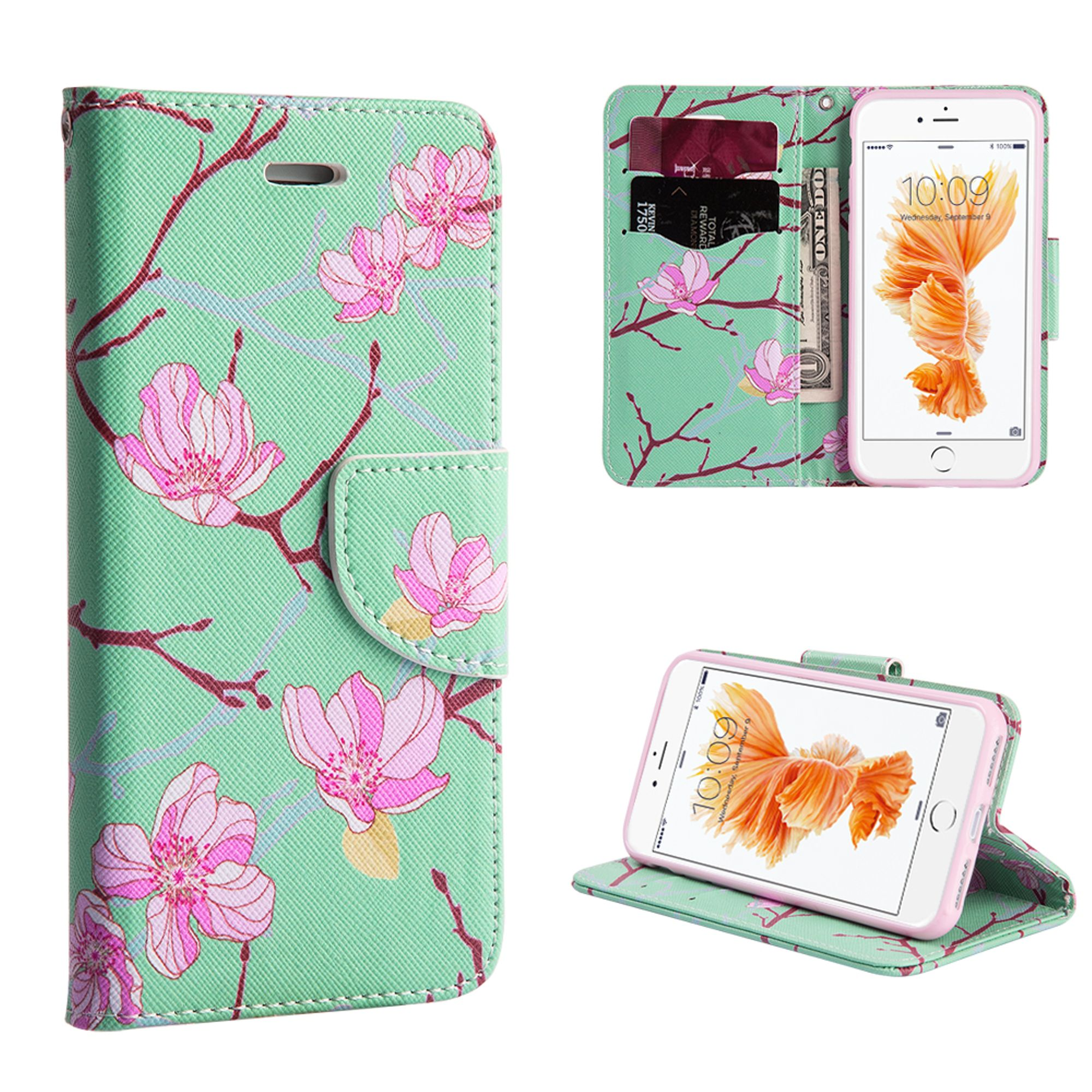 Insten Japanese Blossom Flower Flip Leather Wallet Fabric Floral Case with Card slot for Apple iPhone 8 Plus / iPhone 7 Plus - Green/Pink