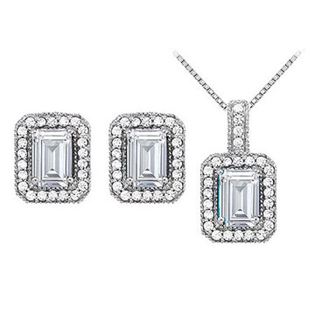 April Birthstone Cubic Zirconia Halo Earrings and Pendant in 14K White Gold - image 1 de 2