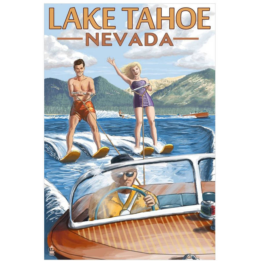Lake Tahoe, Nevada - Water Skiing Scene : Retro Travel Poster by Eazl Cling