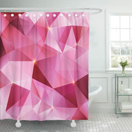 KSADK Geometric Pink Crystal Abstract Black Shimmer Collection Color Diamond Facet Shower Curtain Bathroom Curtain 66x72 inch