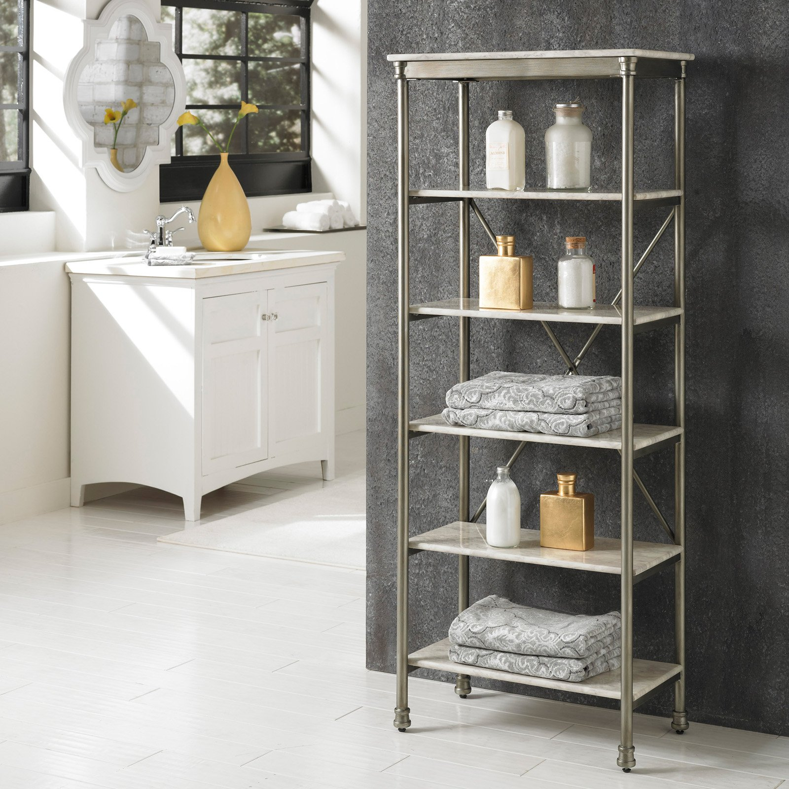 Home Styles The Orleans 6-Tier Shelf, White/Silver