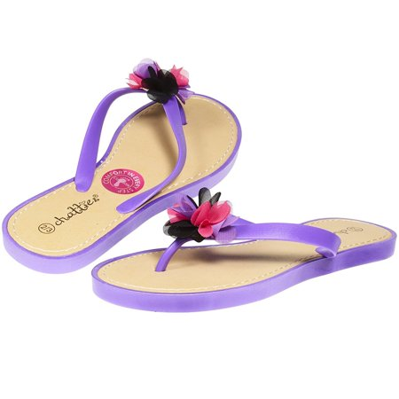 affa96cde1be Chatties By Sara Z - Chatties By Sara Z Jelly PCU Thong Flip Flop Sandal  with Flower for Girls Big Kid Size 2-3 Purple - Walmart.com