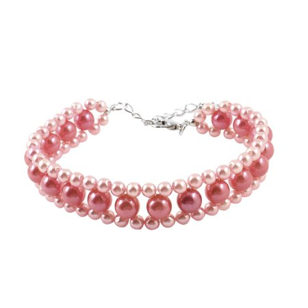 Pet Dog Plastic Faux Pearl Decoration Stretchy Collar Jewelry Necklace M Pink](Dog Decorations)