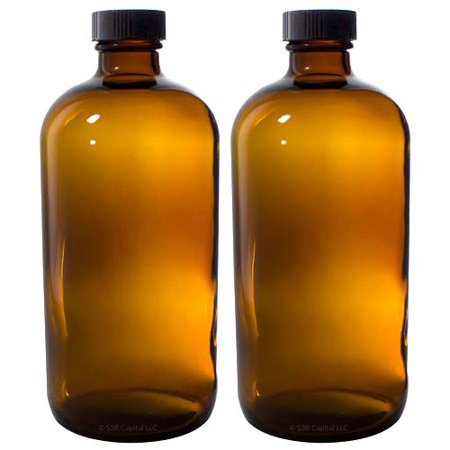 8 oz Amber Glass Boston Round Bottle with Black Phenolic Cone Lined Caps (2 Pack) + (Phenolic Bottle Cap)