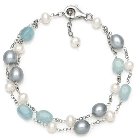 Cultured Freshwater Pearl and Natural Milky Aquamarine Sterling Silver Station Link Bracelet, 7.5