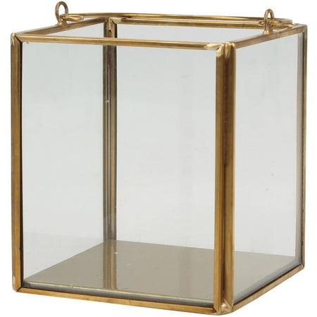 Better Homes & Gardens Metal & Glass Small Lantern, Gold Finish